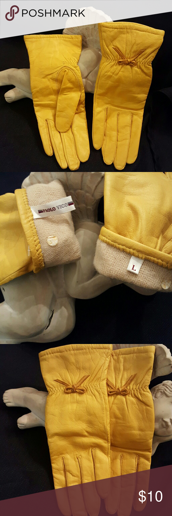 Ladies leather gloves yellow - Paolo Vico Leather Gloves Ladies Large Buttery Soft Yellow Leather Gloves By Paolo Vico Size