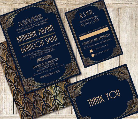 31cc61a922c6909ecec820139b353844 invito a nozze invito set invito art deco dyi stampabile,Art Deco Wedding Invitations Etsy
