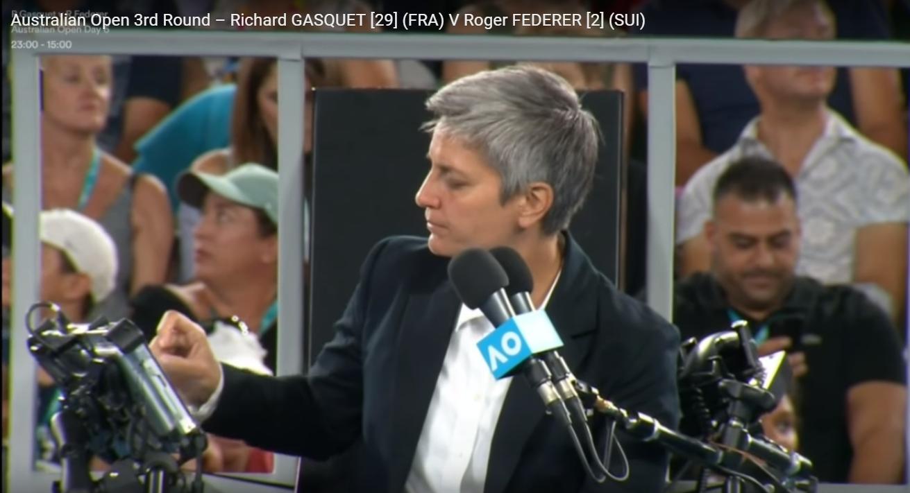 2018 Ao Richard Gasquet 29 Fra V Roger Federer 2 Sui Chair Umpire Marija Cicak Cro Roger Federer Cro Richard