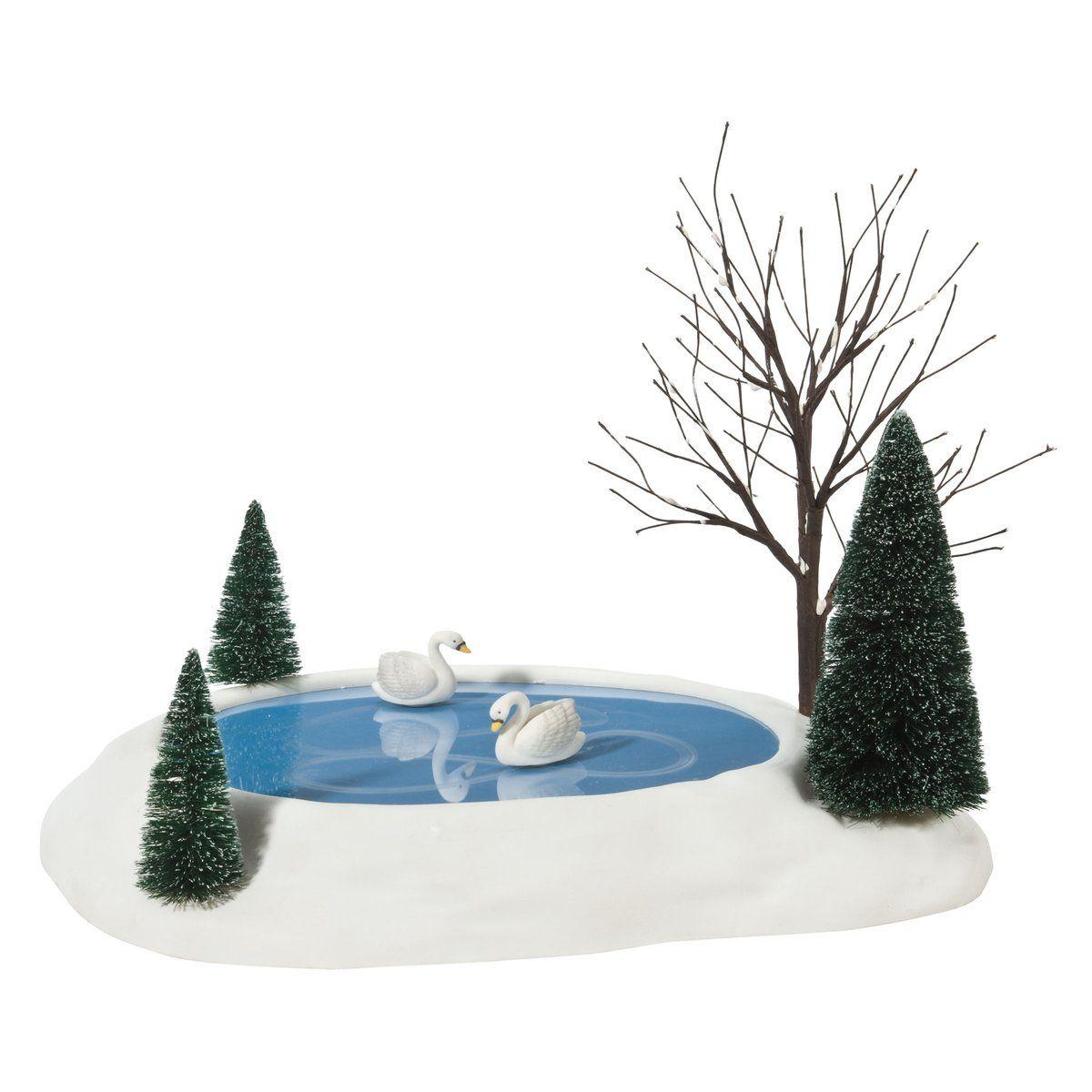 Animated Swan Pond Snow Village Christmas Figurines Christmas Village
