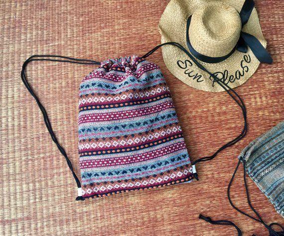 53a8283d48d451 Hippie Aztec Drawstring Backpack Shopping Bag Woven Boho Festival Tribal  Vegan Bucket bag handmade Beach Tote bag Gift for Men Women Vegan