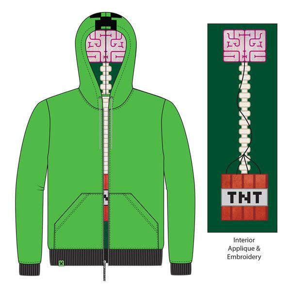 Jnx Minecraft Creeper Anatomy Premium Zip Up Hoodie Minecraft