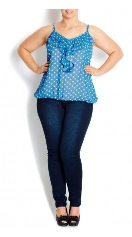 Plus Size Frill Front Top - City Chic - City Chic