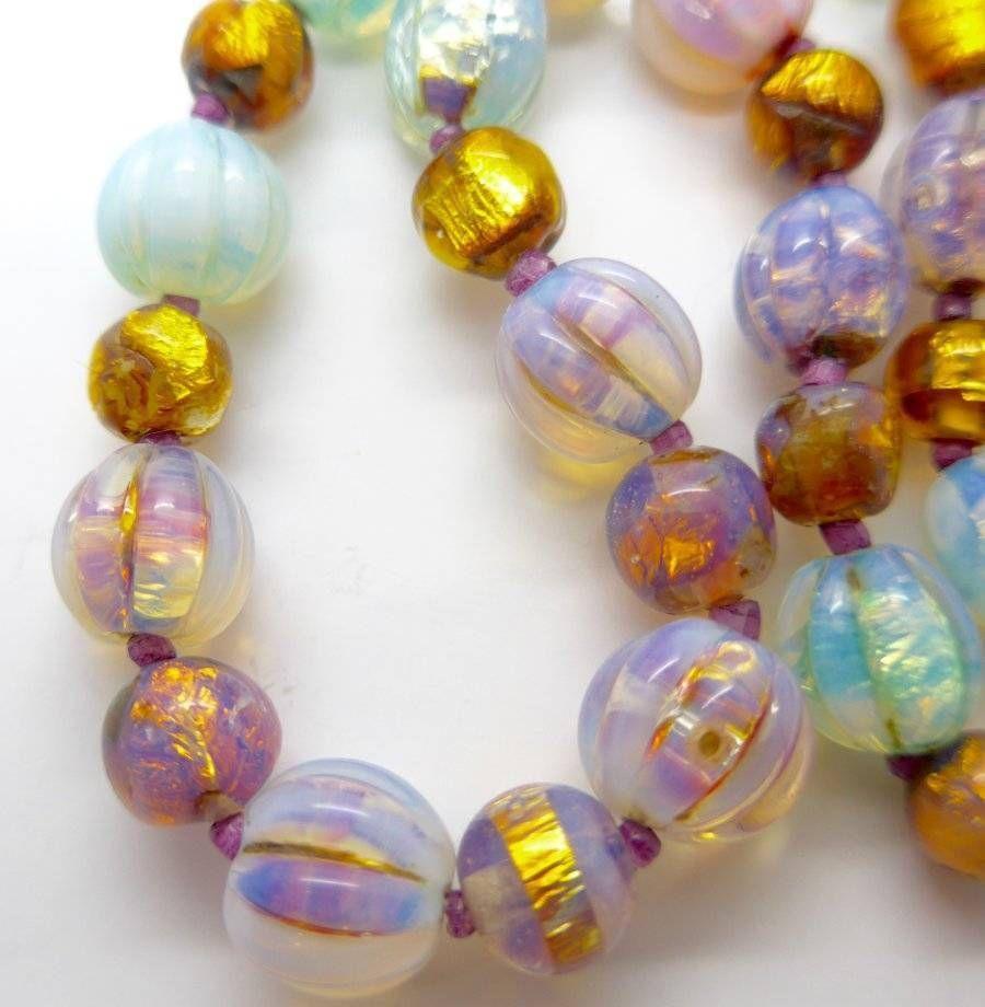 Vintage Art Deco Venetian Opalescent Foil Melon Glass Bead Necklace Rare Beads Walmart Jewelry Glass Bead Necklace Cheap Costume Jewelry