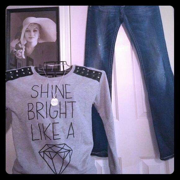 Shine bright like a diamond sweater!!! Super cute sweat with pleather shoulder with spiked studs. Size small long sleeve. Thanks so much for looking!! Sweaters Crew & Scoop Necks