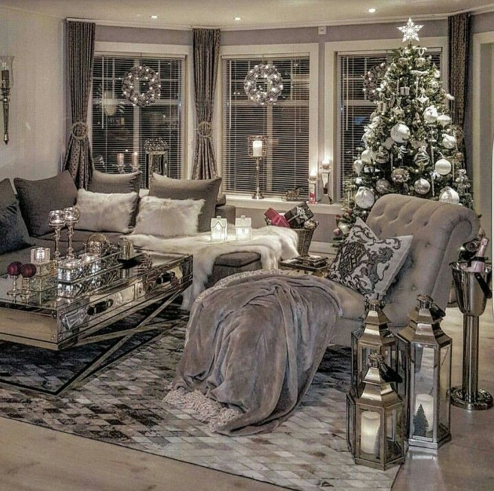 One Day I Will Have A Chaise And A Reading Nook Silver Living Room Christmas Living Rooms Cozy Living Rooms #white #and #silver #living #room #decor