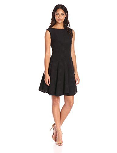 be24d1bccf428 Julian Taylor Womens Fit and Flare Seam Down Pintuck Dress Black 12 --  Visit the image link more details.