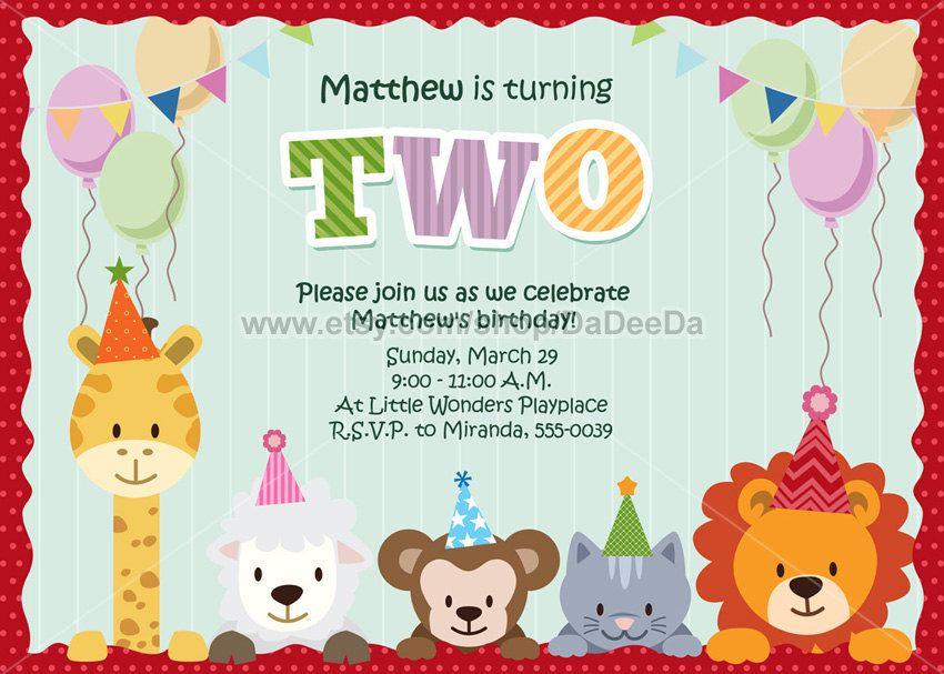 Animal Party Invitation - Printable Animal Birthday Invitations ...