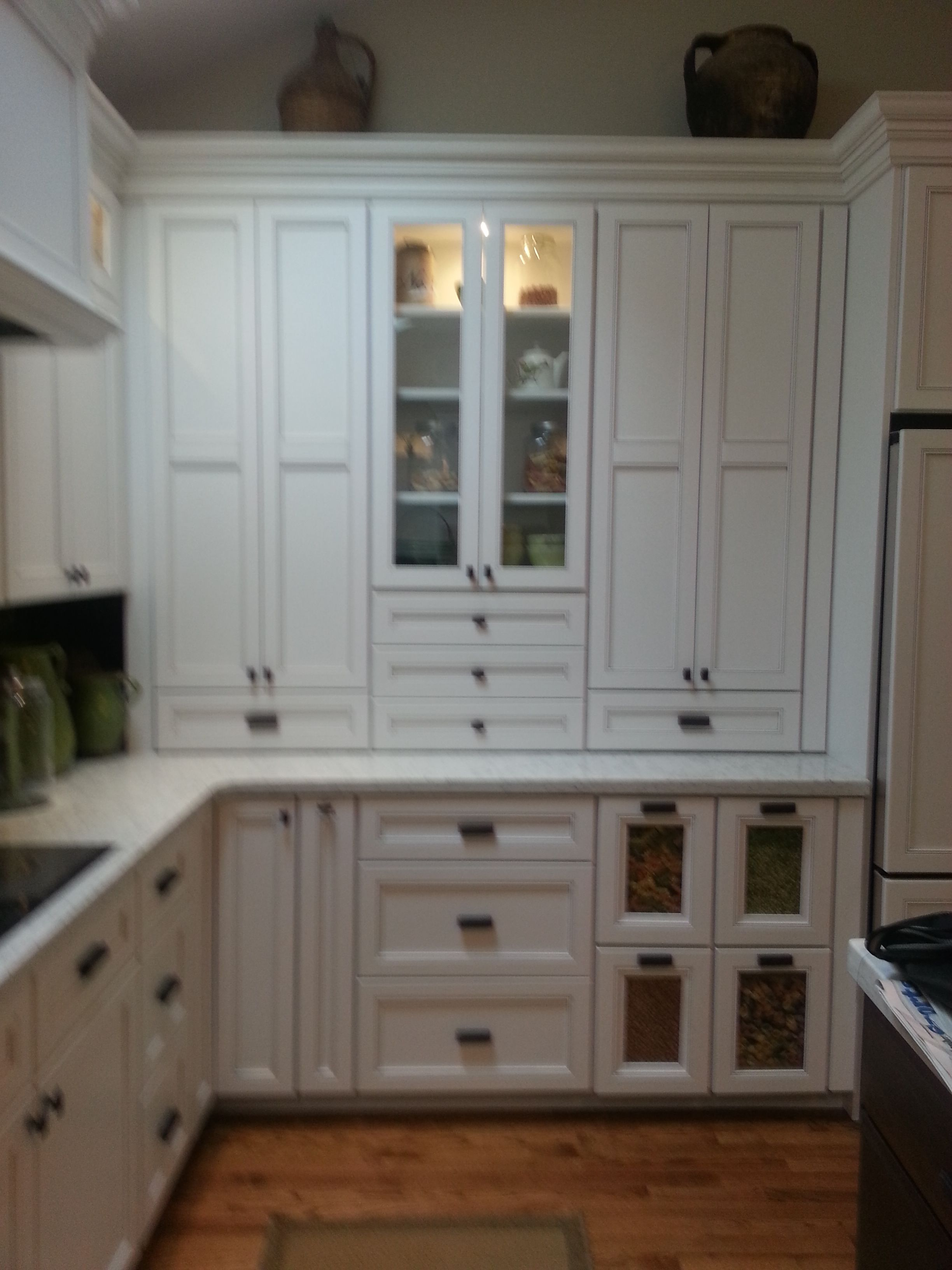 Omega Cabinetry white kitchen Pantry cabinet ve able bin