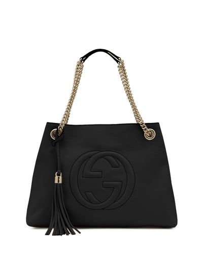 b0cde9d29 Soho Leather Chain-Strap Tote Black | Style | Leather chain, Gucci ...