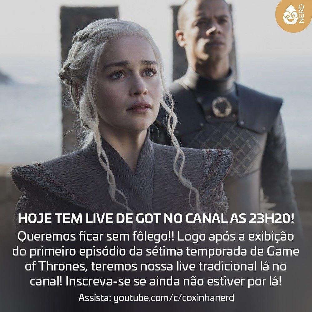 """#CoxinhaVideos HOJE TEM LIVE DE GOT NO CANAL AS 23H20! Queremos ficar sem fôlego!! Logo após a exibição do primeiro episódio da sétima temporada de Game of Thrones teremos nossa live tradicional lá no canal! Inscreva-se se ainda não estiver por lá!Assista nossa live em http://youtube.com/c/coxinhanerd - estaremos """"on"""" a partir das 23h20!! Vem que vem!![Imagem da Daenerys e Verme Cinzento - divulgação sétima temporada] #timelineacessivel #pracegover   TAGS: #coxinhanerd #nerd #geek #geekstuff…"""