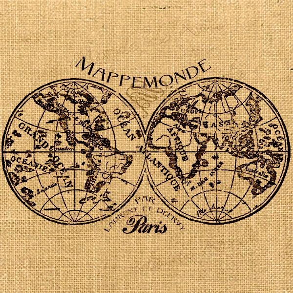 Mappemonde map of the world globe vintage romantic paris gift tag items similar to mappemonde map of the world globe vintage romantic paris gift tag label napkins burlap pillow download original large image sheet n421 on gumiabroncs Image collections