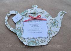 diy tea party invitations with free printable tea pot template, invitation samples