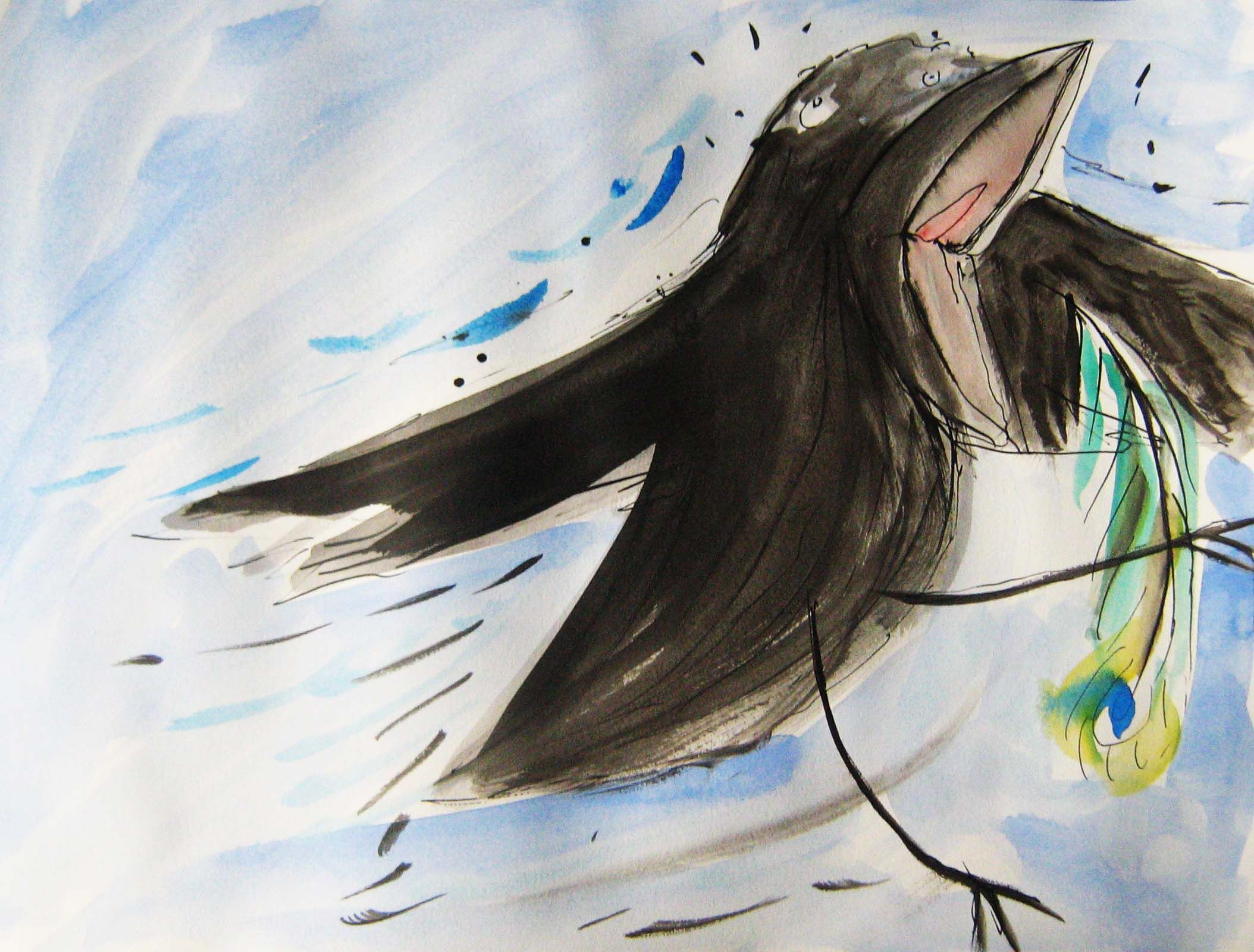 """Illustration from the book """"Sparrow Vs. Crow"""" you can view the ebook online @  http://store.blurb.ca/ebooks/383449-sparrow-vs-crow"""