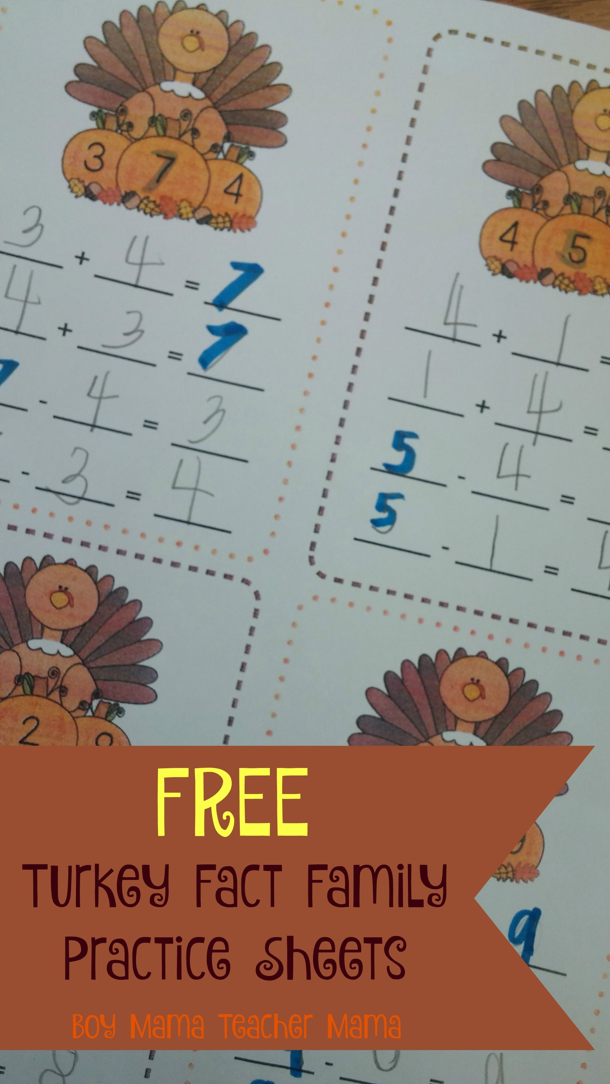 Teacher Mama Free Turkey Fact Families Practice Sheets After School Linky