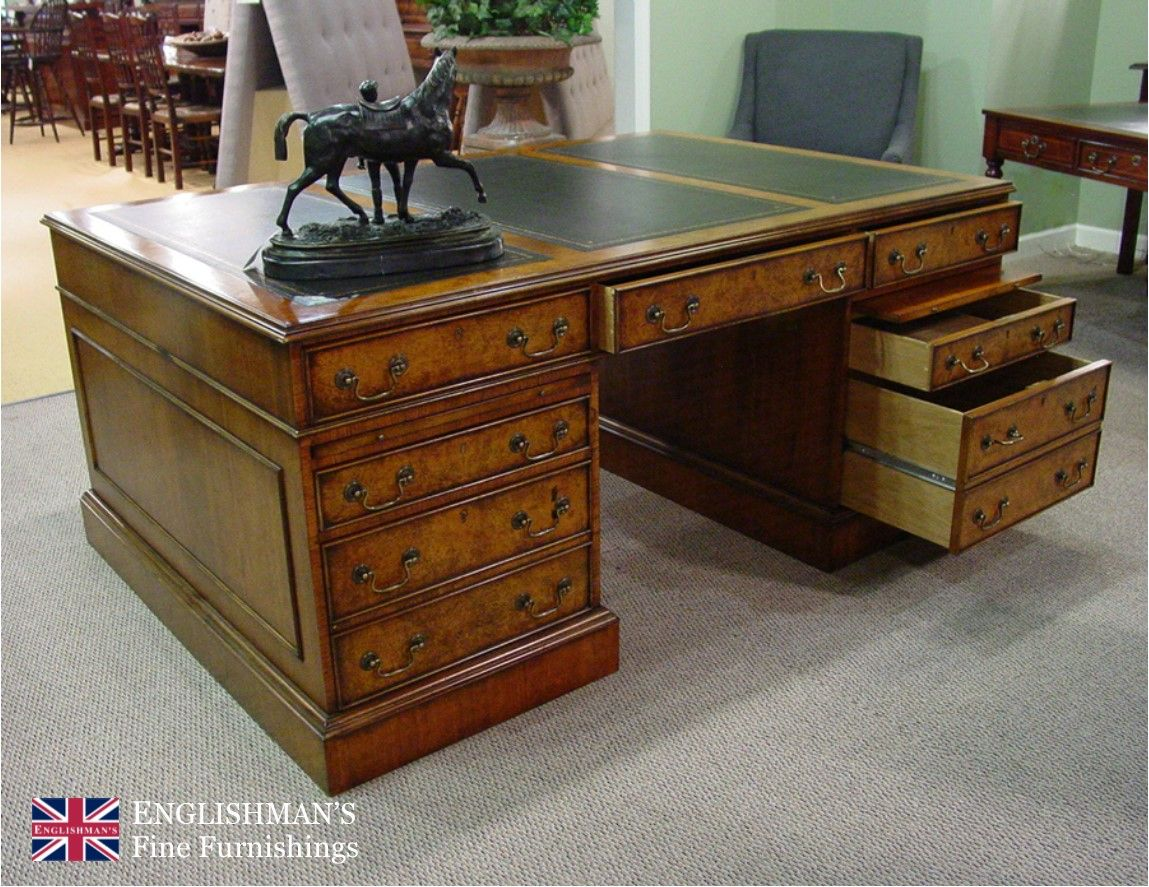 Impressive Burl Walnut Double Sided Partners Desk With 3 Section Black Leather Top Measuring 6 X 4 The Desk Feat Black Leather Top Partners Desk Leather Top