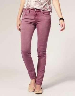 Love the dusty rose/mauve denim color. Great for early summer with ...