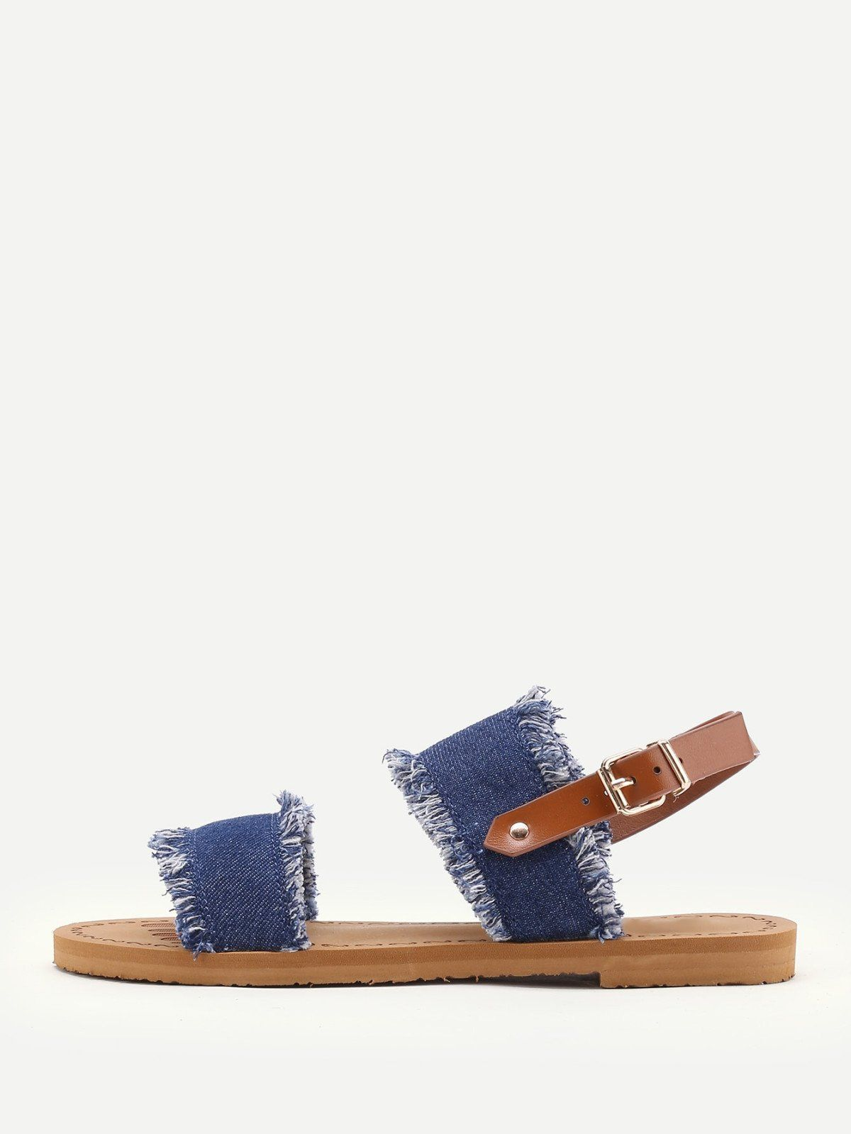 4169c596cdb14b SheIn offers Frayed Trim Denim Flat Sandals   more to fit your fashionable  needs.