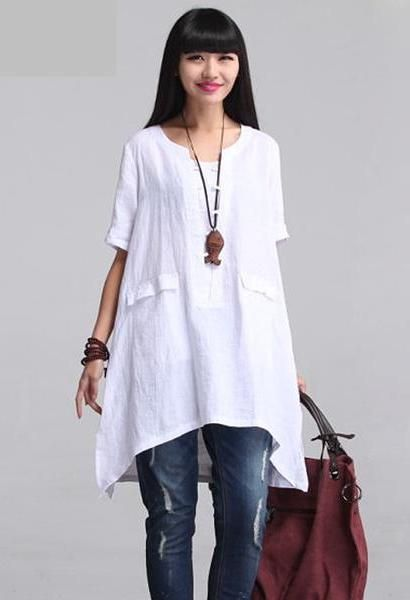 cbd38a9efdc 2018 ZANZEA Women Vintage O Neck Short Sleeve Cotton Linen Solid Blouse  Loose Summer Brief Irregular Hem Shirt Tops Plus Size