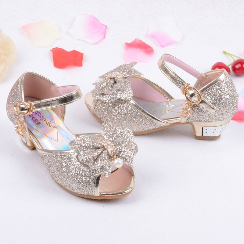 db0067898807 Enfants 2016 Children Princess Sandals Kids Girls Wedding Shoes High Heels  Dress Shoes Party Shoes For Girls Pink Blue Gold B004