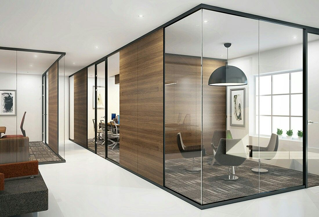 Glazed Partition Wall Modern Office Design Corporate Office