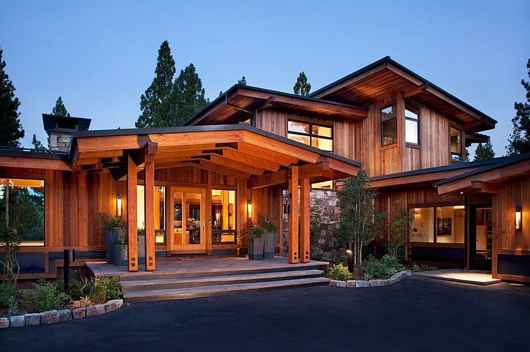 Modern Architecture Mountain Homes entrance with lots of protection from elements - mountain home