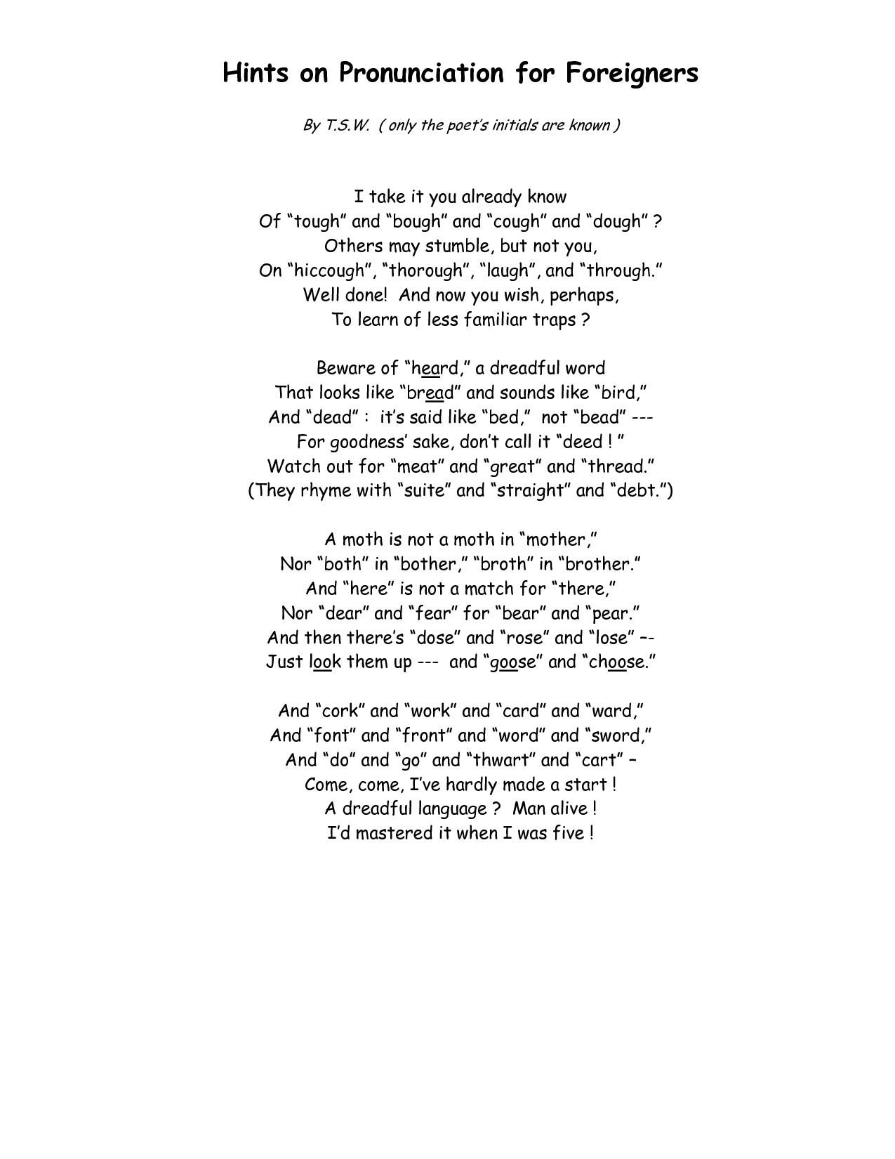 English pronunciation 101 poem