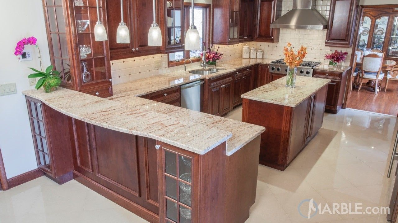 Ivory Brown Kitchen Granite Counters Brown Kitchens Granite Kitchen Popular Kitchen Designs