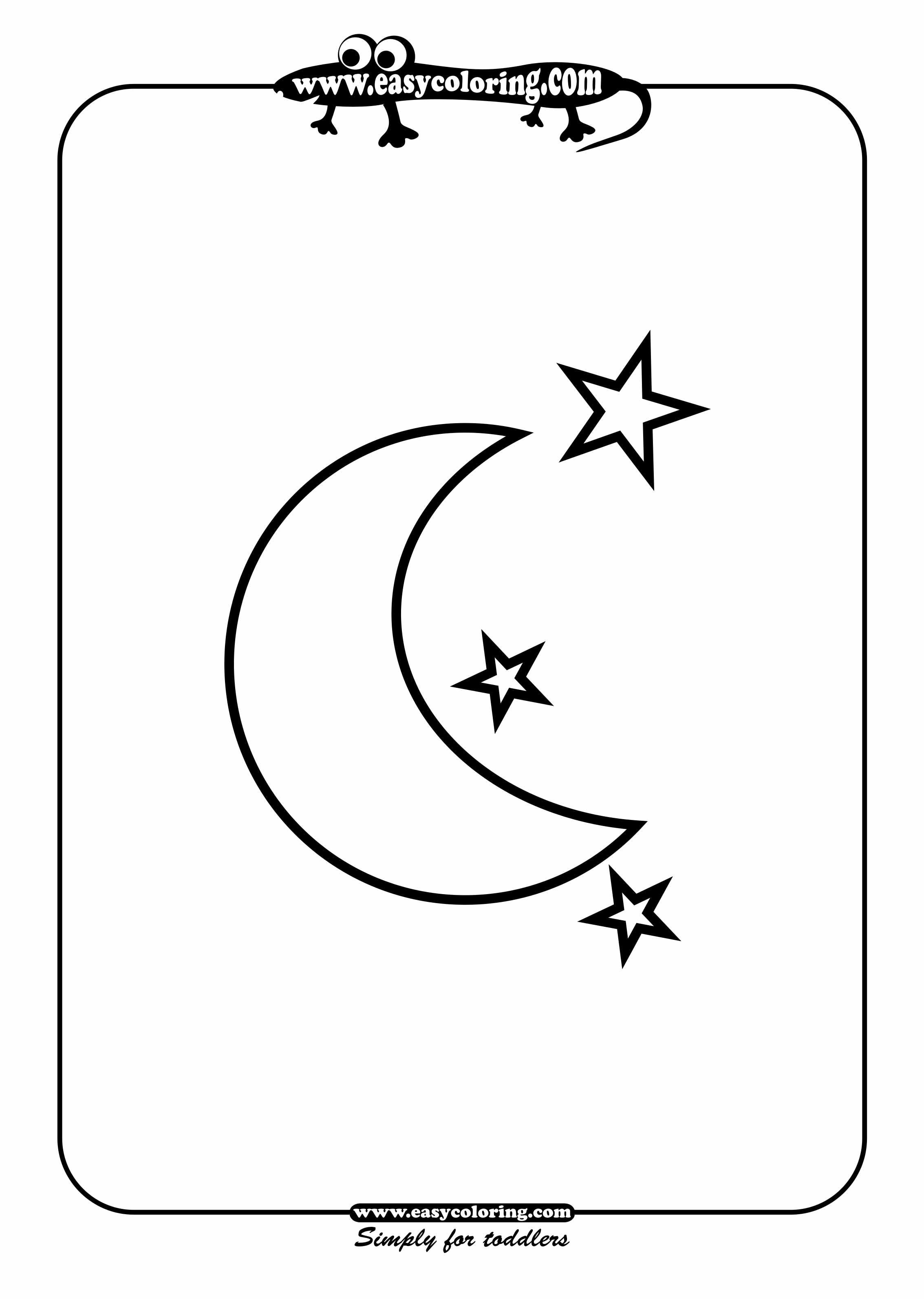 Moon And Stars Easy Coloring Shapes Letter M Week With Images