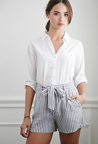 Belted Pinstriped Shorts