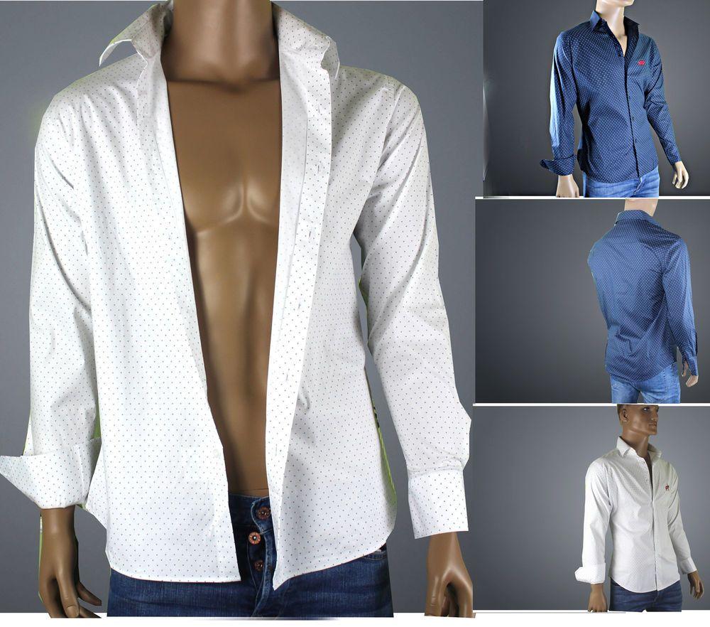 low priced 2d879 1b732 Herren Hemd in Blau/weiss mit weißen Punkten, ausgeschmückt ...