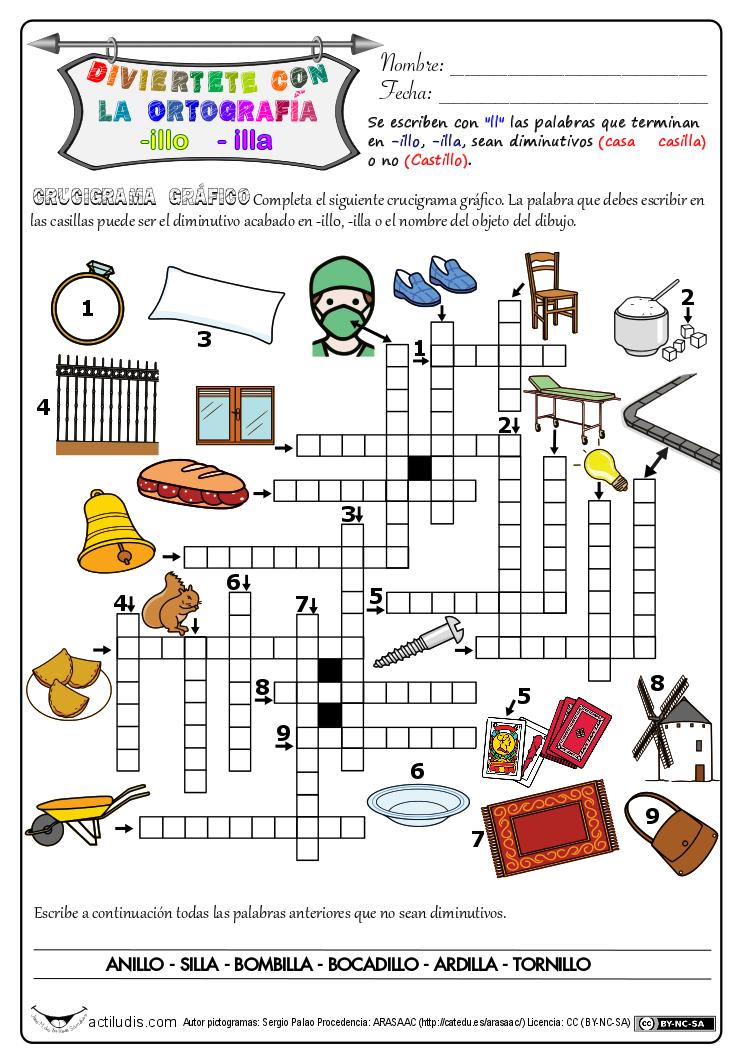 Ortografía Palabras Acabadas En Illo Illa Actividades Lúdicas Educativas Actividades De Ortografía Ortografía Crucigrama Para Niños