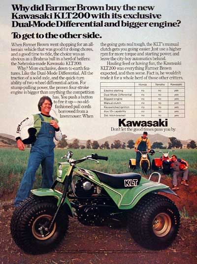 1980 Kawasaki Klt 200 Atv Classic Vintage Print Ad Kawasaki Vw Trike Japanese Motorcycle