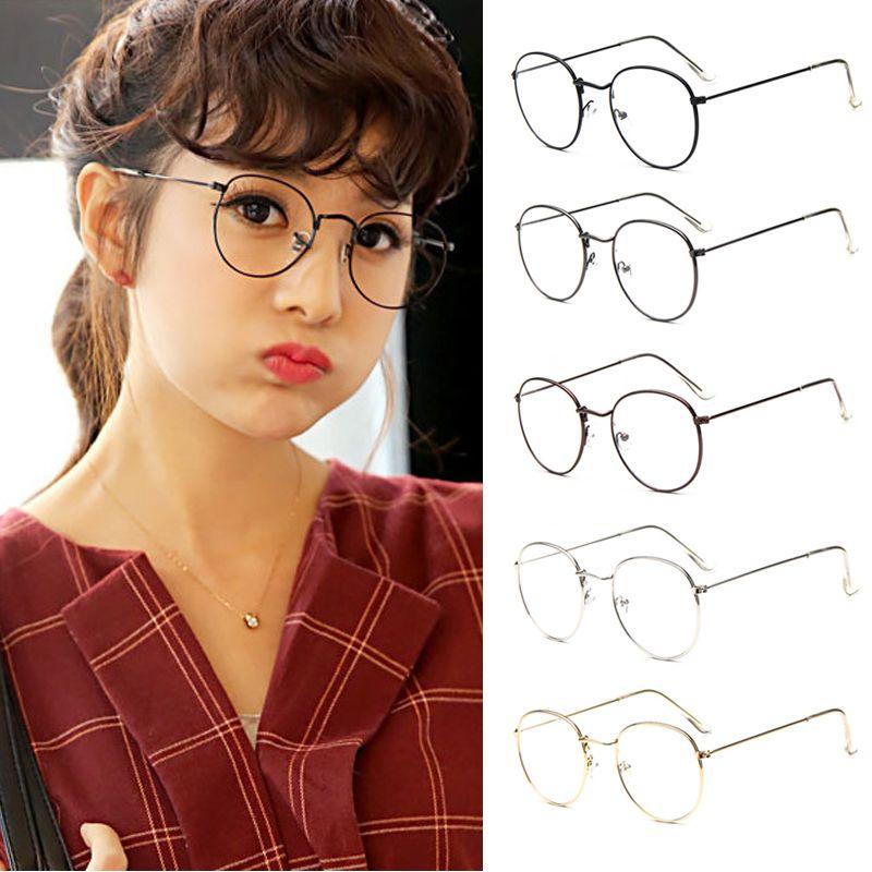 4FSGLOBAL Fashion Fashion Vintage Women Eye Glasses frames Plain Mirror Clear Lens Harajuku big Metal oval frame glasses Gafas Feminino Masculino
