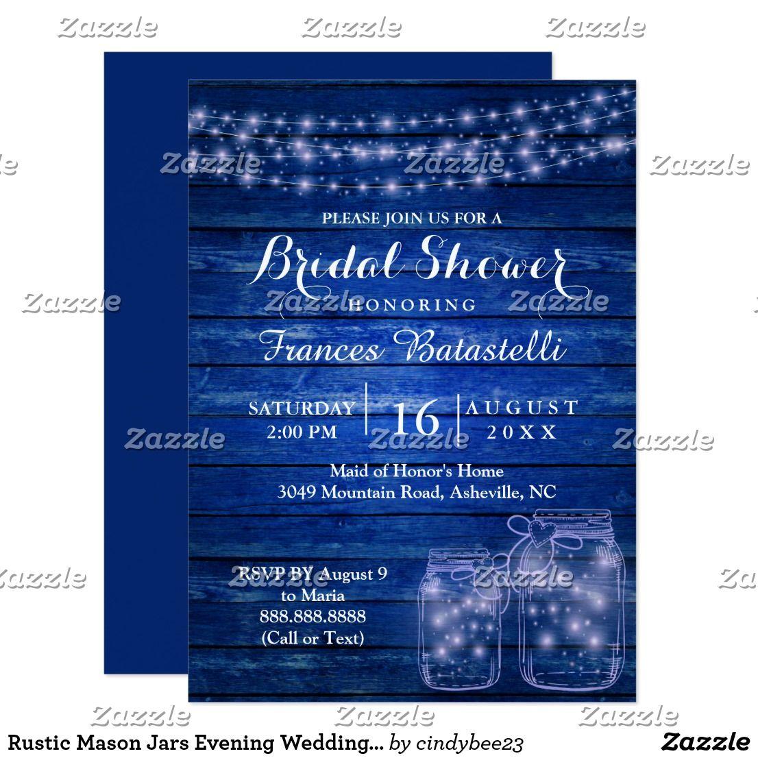 rustic mason jars evening wedding bridal shower invitation