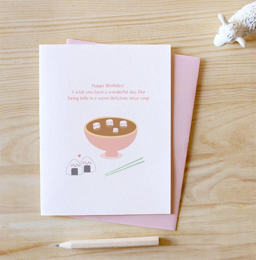 Tofu Happy Birthday Card Rice Ball Miso Soup Happy Birthday