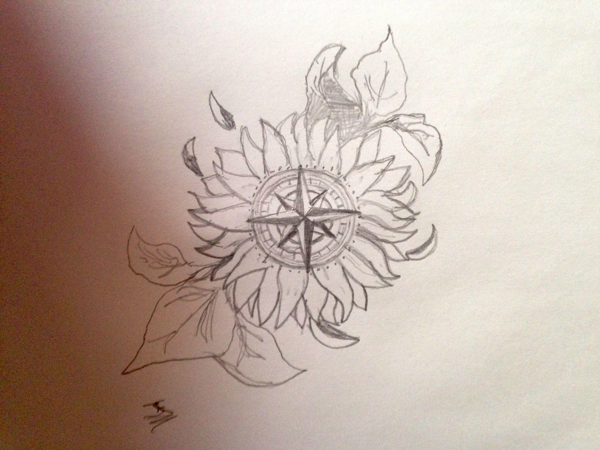Line Drawing Sunflower Tattoo : Sunflower compass ink tattoos