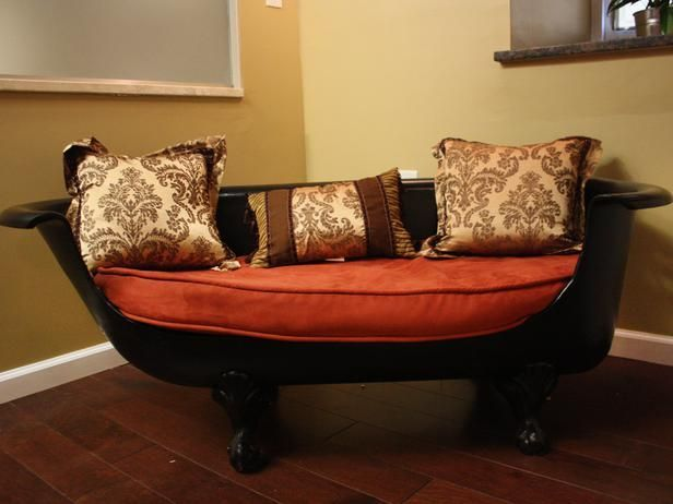 Black Claw Foot Sofa With Orange Coushon