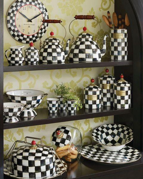 black and white checkered kitchen ware