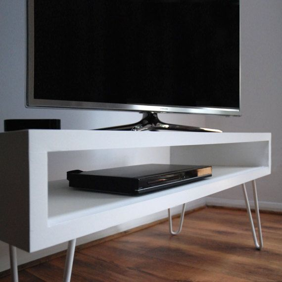 White Gloss Box Tv Stand With Metal Hairpin Legs By Blueislandhome