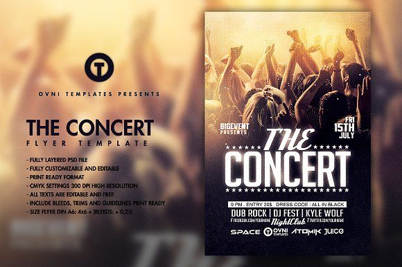 THE CONCERT BAND Flyer Template Concerts, Flyers and Flyer template - band flyer template