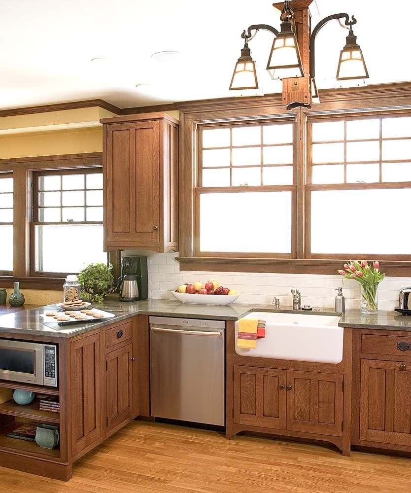 Arts and Crafts Quartersawn White Oak stained kitchen sink ...
