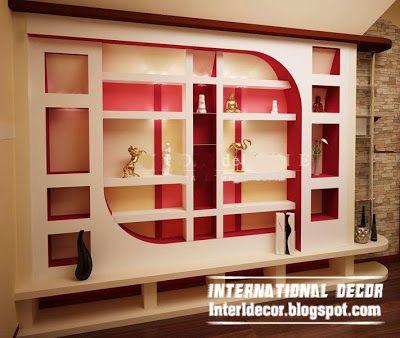 Modern Day Gypsum Board Wall Interior Styles And Decorative Interior Wall Design Wall Showcase Design Shelf Designs For Hall