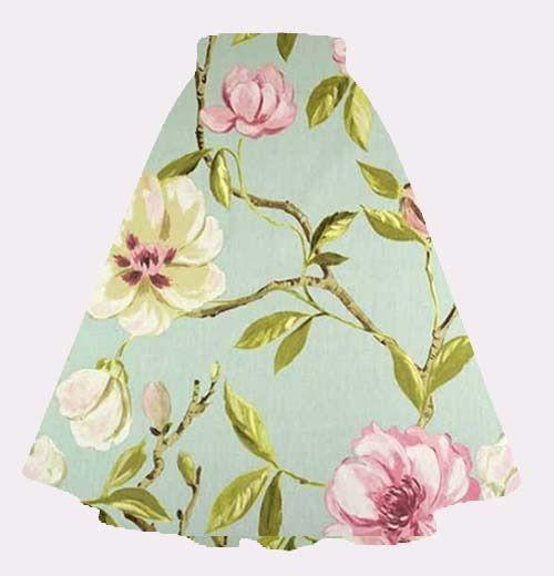 Jupe corolle esprit rétro vintage en coton imprimé fleures coloris rose/vert sur mesure : Jupe par lumera