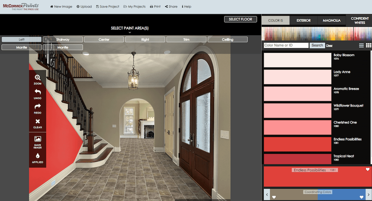 Virtual Room Painter Software By Mccormick Paints Paint Visualizer Virtual Room Painter Virtual Paint Colors