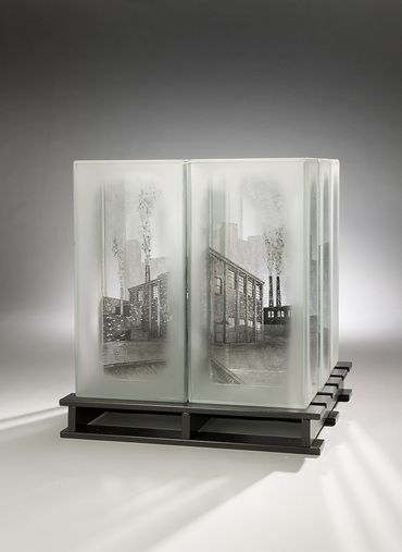 Jeremy Lepisto Central Supply Shipment Series 11 75 H X 12 5 W X 12 5 D Blown Kiln Formed Constructe With Images Glass Art Installation Glass Sculpture Glass Printing