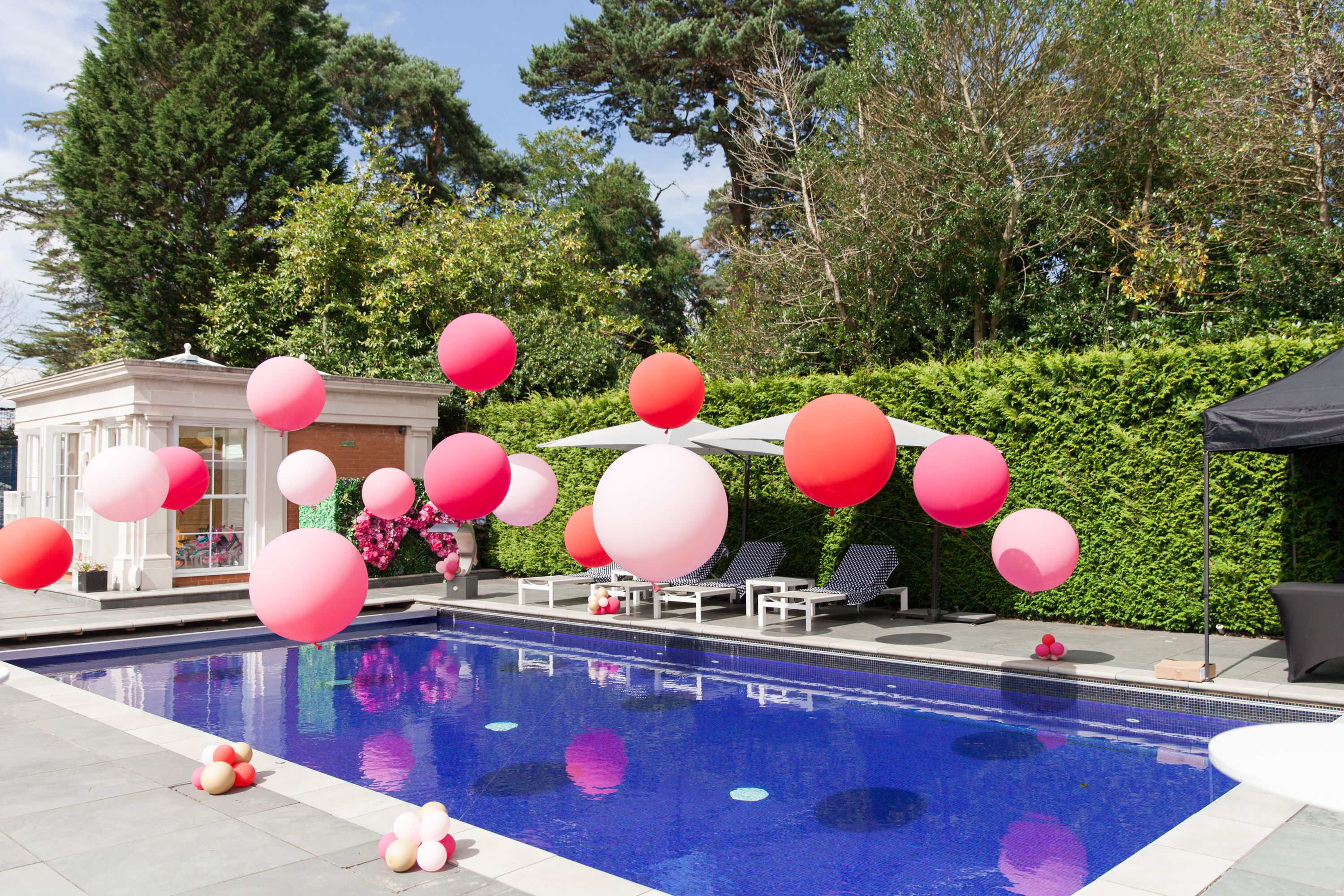 Pink Raspberry Pool Party Balloon Installation Pool Party Decorations Pool Birthday Party Pool Party