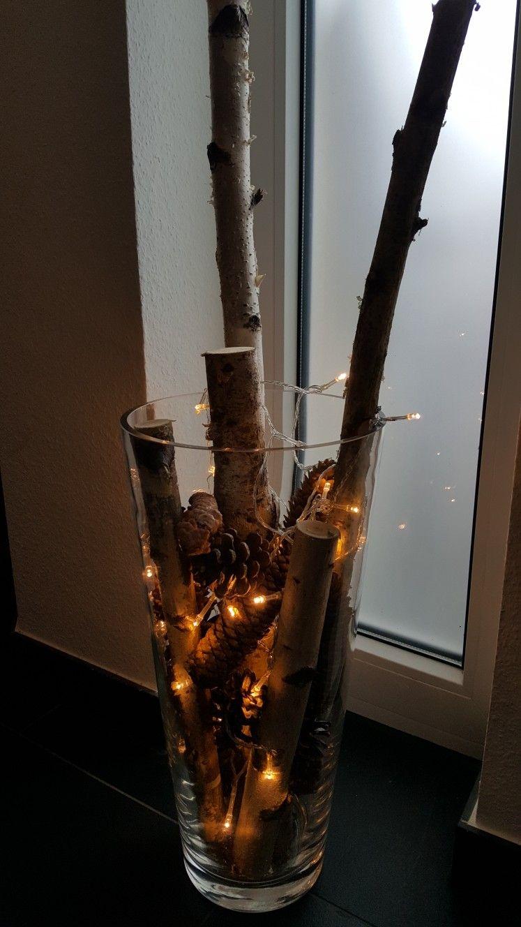 Mit Naturmaterialien dekorieren DIY #bodenvasedekorieren