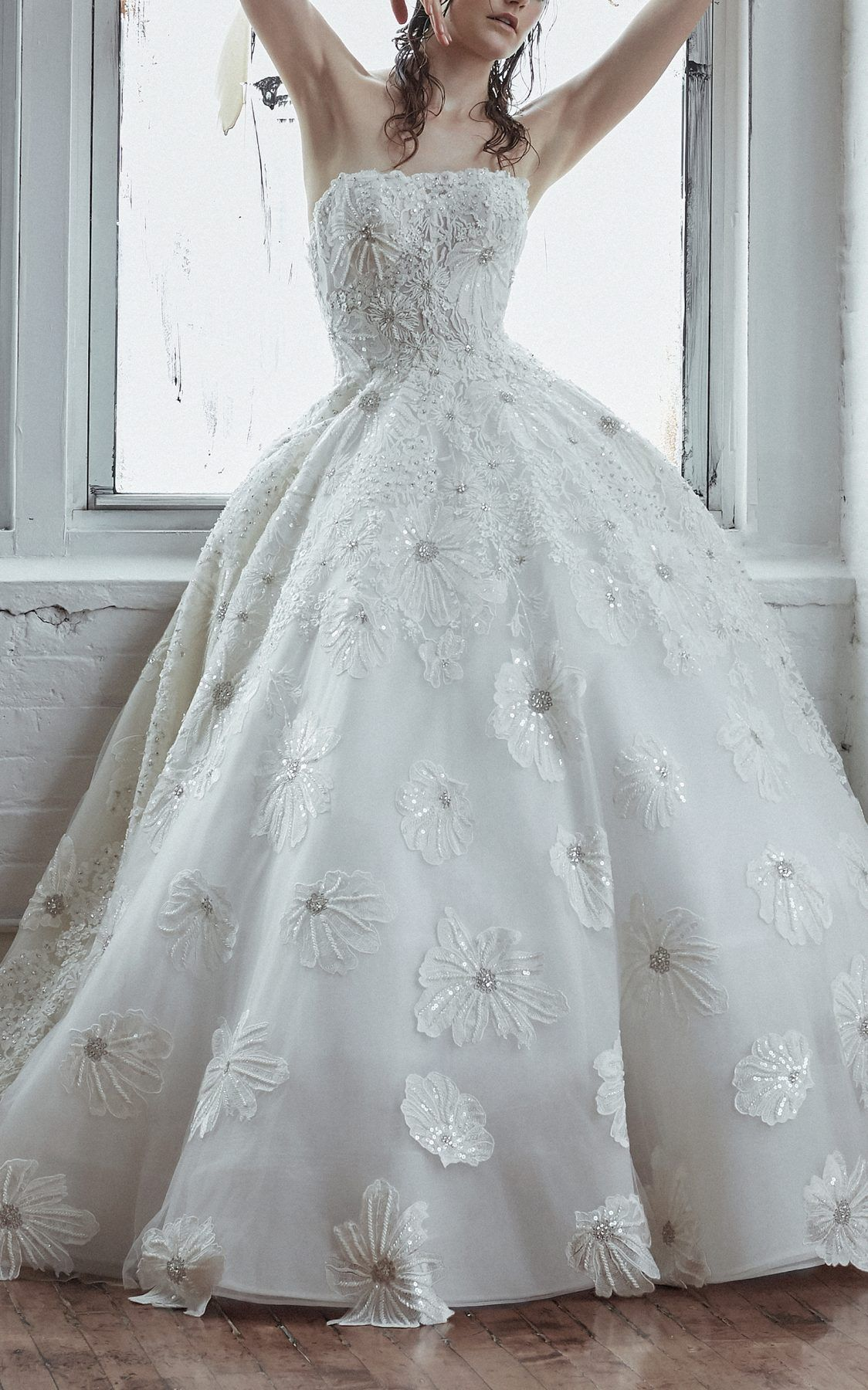 Strapless Ball Gown With Beaded Floral Embroidery Isabelle Armstrong Style Anastasia Wedding Dress Couture Gowns Ball Gowns