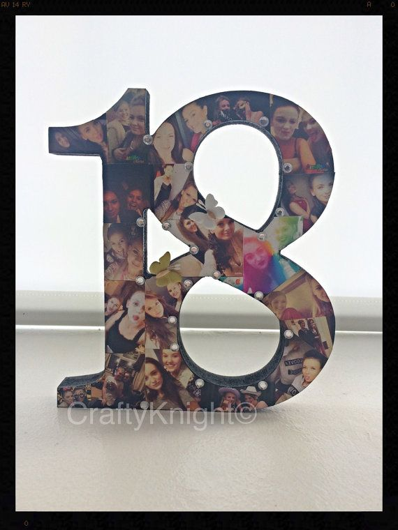 18th Birthday Present Freestanding Number Photo Keepsake